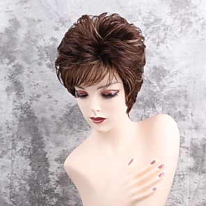 cheap Synthetic Trendy Wigs-Synthetic Wig Straight Straight Pixie Cut Short Hairstyles 2020 With Bangs Wig Short Brown Synthetic Hair Women's Highlighted / Balayage Hair Side Part Brown MAYSU