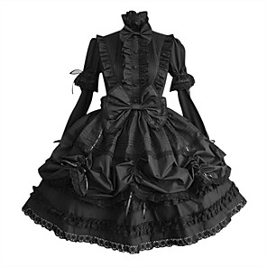cheap Lolita Dresses-Princess Gothic Lolita Plus Size Punk Dress Women's Girls' Cotton Japanese Cosplay Costumes Plus Size Customized Black Ball Gown Solid Colored Puff / Balloon Sleeve Long Sleeve Medium Length