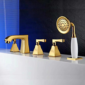 cheap Bathroom Sink Faucets-Bathtub Faucet Gold Tub And Shower Ceramic Valve Bath Shower Mixer Taps / Three Handles Five Holes