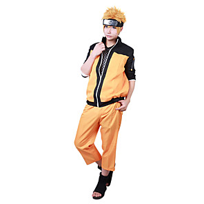 cheap Anime Costumes-Inspired by Naruto Naruto Uzumaki Anime Cosplay Costumes Japanese Cosplay Suits Patchwork Long Sleeve Coat Pants For Men's Women's