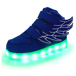 cheap Kids' LED Shoes-Boys' LED / LED Shoes / USB Charging Leather Sneakers Wings Shoes Little Kids(4-7ys) / Big Kids(7years +) Magic Tape / LED / Luminous White / Black / Red Spring / Fall / Rubber