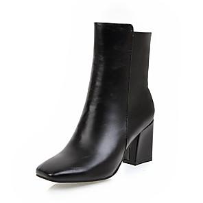 cheap Women's Boots-Women's Boots Square Toe Zipper Leatherette Mid-Calf Boots Fashion Boots Winter White / Black / Red / EU41