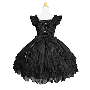 cheap Lolita Dresses-Gothic Lolita Lolita Dress Women's Pure Color Japanese Cosplay Costumes Plus Size Customized Black Ball Gown Solid Colored Butterfly Sleeve Sleeveless