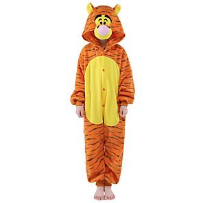 cheap Sports Headphones-Kid's Tiger Kigurumi Pajamas Onesie Pajamas Flannel Toison Orange Cosplay For Animal Sleepwear Cartoon Halloween Festival / Holiday