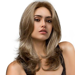 cheap Human Hair Capless Wigs-Synthetic Wig Natural Wave Natural Wave Wig Long Brown / White Synthetic Hair Women's Highlighted / Balayage Hair Brown StrongBeauty