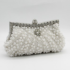 cheap Clutches & Evening Bags-Women's Beading / Crystals / Pearls Satin Evening Bag Wedding Bags Black / White / Champagne