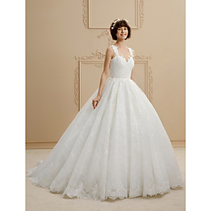 cheap Security Sensors-Ball Gown Wedding Dresses Sweetheart Neckline Sweep / Brush Train Tulle All Over Lace Regular Straps Glamorous Illusion Detail with Lace 2020
