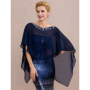 cheap Wedding Wraps-Capes Chiffon Wedding / Party / Evening Women's Wrap With Beading / Buttons