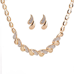 cheap Jewelry Sets-Women's Stud Earrings Necklace Geometrical Drop Ladies Geometric Rhinestone Earrings Jewelry Gold / Silver For Daily Date