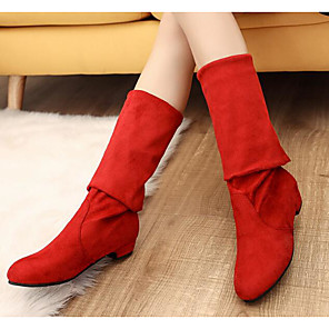 cheap Women's Boots-Women's Boots Knee High Boots Chunky Heel Nappa Leather Knee High Boots Fashion Boots / Slouch Boots Winter Black / Brown / Red / EU39