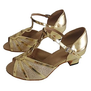 cheap Latin Shoes-Women's Dance Shoes Sparkling Glitter / PU Latin Shoes Customized Heel Gold / Silver / Red / Indoor