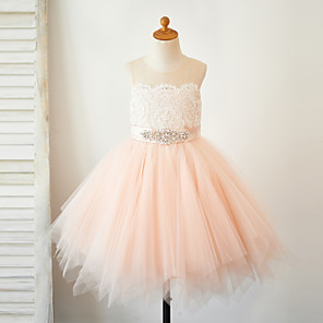 cheap Girls' Dresses-A-Line Knee Length Pageant Flower Girl Dresses - Lace / Tulle Sleeveless Jewel Neck with Lace / Sash / Ribbon