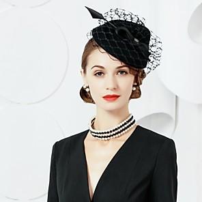 cheap Earrings-Wool Feather Fascinators Hats Headpiece Classical Feminine Style