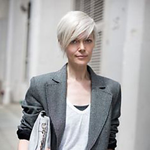 cheap Synthetic Trendy Wigs-Human Hair Blend Wig Short Short Hairstyles 2020 Side Part Machine Made Women's Silver