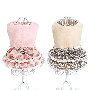 cheap Dog Clothes-Dog Dress Dog Clothes Princess Beige Pink Polyester Costume For Spring &  Fall Winter Men's Women's Casual / Daily