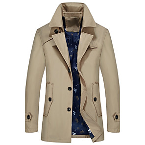 cheap CCTV Cameras-Men's Daily Spring / Fall Plus Size Long Trench Coat, Solid Colored Shirt Collar Long Sleeve Acrylic / Polyester Black / Light Blue / Navy Blue