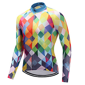 cheap Cycling Jerseys-FUALRNY® Men's Long Sleeve Cycling Jersey Winter Coolmax® Lycra Orange Plaid Checkered Bike Jersey Top Mountain Bike MTB Road Bike Cycling Quick Dry Sports Clothing Apparel / High Elasticity