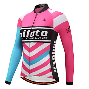 cheap Cycling Jerseys-Miloto Women's Long Sleeve Cycling Jersey Winter Blue+Pink Plus Size Bike Jersey Top Mountain Bike MTB Road Bike Cycling Sports Clothing Apparel / Stretchy