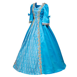 cheap Historical & Vintage Costumes-Punk Lolita Rococo Victorian 18th Century Dress Party Costume Masquerade Ball Gown Women's Girls' Satin Costume Blue Vintage Cosplay Long Sleeve Floor Length Ball Gown Plus Size Customized
