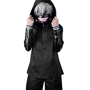 cheap Anime Costumes-Cosplay Suits Inspired by Tokyo Ghoul Ken Kaneki Anime Cosplay Accessories Coat Top Pants PU Leather Men's Women's Halloween Costumes / Shorts / Mask / Wig / Mask / Shorts