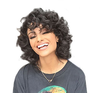 cheap Human Hair Capless Wigs-Synthetic Wig Curly Curly Short Hairstyles 2020 Wig Medium Length Black#1B Synthetic Hair Women's African American Wig Black StrongBeauty