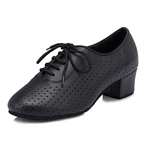 cheap Ballroom Shoes & Modern Dance Shoes-Women's Latin Shoes / Ballroom Shoes Faux Leather Lace-up Criss-Cross Chunky Heel Customizable Dance Shoes Black / Performance