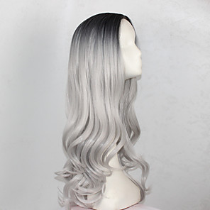 cheap Synthetic Trendy Wigs-Synthetic Wig Wavy Wig Long Black / Grey Synthetic Hair Women's Gray