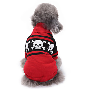 cheap Dog Clothes-Dog Sweater Dog Clothes Skull Red Acrylic Fibers Costume For Spring &  Fall Winter Men's Women's Halloween
