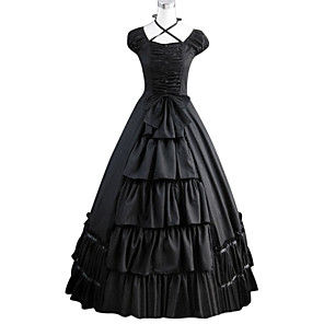 cheap Lolita Dresses-Gothic Victorian Medieval 18th Century Dress Party Costume Masquerade Women's Cotton Costume Black Vintage Cosplay Party Prom Short Sleeve Floor Length Ball Gown Plus Size Customized