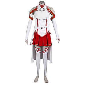 cheap Anime Costumes-Inspired by SAO Alicization Yuuki Asuna Anime Cosplay Costumes Japanese Cosplay Suits Patchwork Blouse Skirt Sleeves For Women's / Waist Accessory / Strap / More Accessories / Waist Accessory