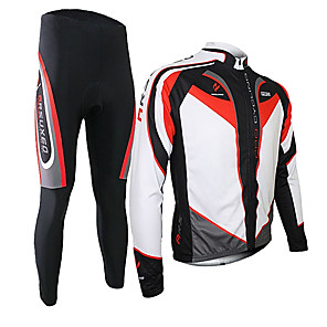 cheap Cycling Jersey & Shorts / Pants Sets-Arsuxeo Men's Long Sleeve Cycling Jersey with Tights Winter Fleece Silicon Spandex Black / Red Purple Yellow Patchwork Bike Clothing Suit Thermal / Warm Breathable 3D Pad Quick Dry Limits Bacteria