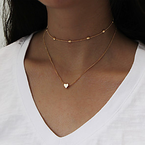 cheap Jewelry Sets-Women's Choker Necklace Pendant Necklace Chain Necklace Double Heart Ladies Personalized Simple Style Fashion Euramerican Earrings Jewelry Gold / Silver For Dailywear Daily Casual Outdoor clothing