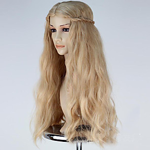 cheap Costume Wigs-Cosplay Costume Wig Synthetic Wig Cosplay Wig Wavy Wig Blonde Long Flaxen Synthetic Hair Women's Blonde