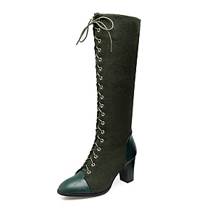 cheap Women's Boots-Women's Boots Knee High Boots Plus Size Chunky Heel Round Toe Ankle Strap Riding Boots Fashion Boots Dress Zipper Lace-up Synthetic Nylon Leatherette Knee High Boots Winter Black / Green / Brown