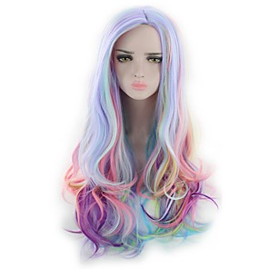 cheap Costume Wigs-Cosplay Costume Wig Synthetic Wig Cosplay Wig Wavy Natural Wave Kardashian Natural Wave Deep Wave Wig Pink Long Rainbow Synthetic Hair Women's Blue Pink Purple
