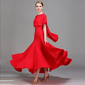 cheap Latin Dancewear-Ballroom Dance Dress Ruffles Women's Performance Natural Ice Silk