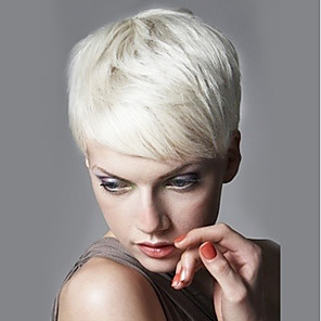 cheap Human Hair Capless Wigs-Human Hair Capless Wigs Human Hair Straight Short Hairstyles 2019 Side Part Short Machine Made Wig Women's