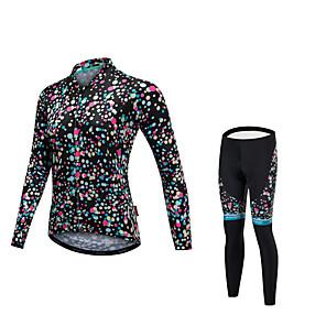 cheap Bags & Cases-Malciklo Women's Long Sleeve Cycling Jersey with Tights Black Polka Dot Bike Clothing Suit Quick Dry Anatomic Design Reflective Strips Winter Sports Lycra Polka Dot Mountain Bike MTB Road Bike Cycling