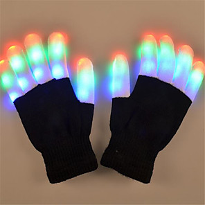 cheap Videogame Cosplay Accessories-LED Glow Gloves Party Supplies Glowing Rave Flashing Glove Glow Light Up Finger Tip Lighting Christmas Gift Kid Party Decor
