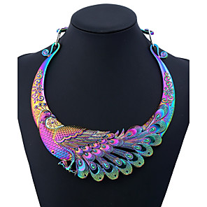 cheap Jewelry Sets-Women's Statement Necklace Ethnic Peacock Ladies Colorful Chunky Metal Alloy Black Gold Silver Rainbow Silver Dragon 50 cm Necklace Jewelry One-piece Suit For Party Daily