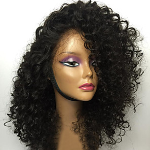 cheap Synthetic Lace Wigs-Human Hair Glueless Lace Front Lace Front Wig Bob Layered Haircut With Bangs style Brazilian Hair Kinky Curly Wig 130% Density with Baby Hair Natural Hairline Unprocessed Women's Medium Length Human