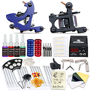 cheap Tattoo Machines-Tattoo Machine Starter Kit - 2 pcs Tattoo Machines with tattoo inks, Professional LCD power supply Case Not Included 2 cast iron machine liner & shader