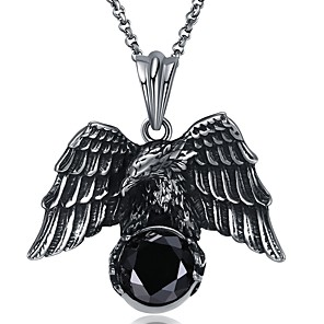 cheap Pendant Necklaces-Men's Pendant Necklace Wings Statement Gothic Initial Oversized Stainless Steel Titanium Steel Tungsten Steel Silver Necklace Jewelry One-piece Suit For Holiday Club