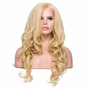 cheap Synthetic Lace Wigs-Synthetic Lace Front Wig Wavy Wavy with Baby Hair Lace Front Wig Blonde Medium Length Light golden Synthetic Hair Women's Blonde EEWigs