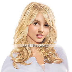 cheap Human Hair Capless Wigs-Human Hair Wig Long Wavy Wavy Side Part Machine Made Women's Black#1B Honey Blonde Medium Auburn 22 inch
