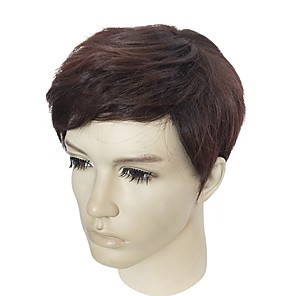 cheap Synthetic Trendy Wigs-Synthetic Wig kinky Straight kinky straight Wig Short Brown Synthetic Hair Men's Brown