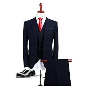 cheap Custom Suits-Navy Blue Solid Colored Standard Fit Polyester Suit - Peak / Turndown Single Breasted One-button / Suits