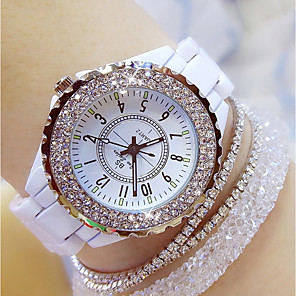 cheap Quartz Watches-Women's Ladies Wrist Watch Diamond Watch Wrap Bracelet Watch Japanese Quartz Ceramic Black / White 30 m Casual Watch Analog Charm Bling Bling - White Black / Stainless Steel