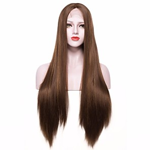 cheap Synthetic Lace Wigs-Synthetic Lace Front Wig Straight Straight Lace Front Wig Long Dark Brown Synthetic Hair Women's Brown EEWigs