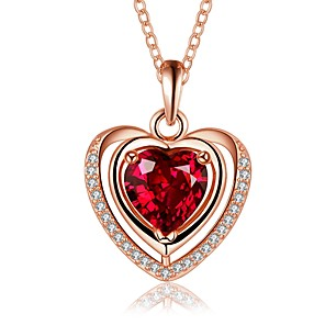 cheap Women's Sandals-Women's Sapphire Crystal Cubic Zirconia Pendant Necklace Chain Necklace Solitaire Simulated Heart Statement Ladies Simple Vintage Copper Silver Plated Silver Rose Gold Necklace Jewelry For Wedding